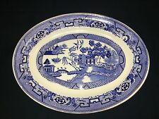 "HOMER LAUGHLIN Blue Willow transferware platter H43N6 mad USA 10X14"" oriental"