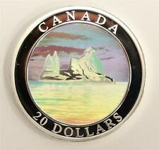 2004 Canada $20 Silver Proof Coin Icebergs Hologram Natural Wonders Coin+Capsule