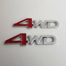 4WD Metal Badge x2 Red Chrome 3D Emblem for Honda CRV HRV Civic Jazz FRV CRZ SUV