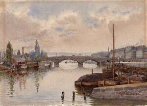 CYRIL WARD (1863-1935) Watercolour Painting BRIDGE AT ROUEN FRANCE 1889