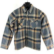 New Vans Boys Plaid Long Sleeve Button Up Pocket Shirt Jacket Fleece Lined Med