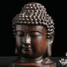 Wooden Buddha Head Buddhism Statue Craft Asian Buddist Figurine Ornament B