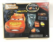 """Cars 3"" Wooden Puzzle Pack 5 Puzzles Total With Storage Box"