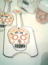 Hand Sanitizer Holder Skull Day of Dead Glitter Embroidered Halloween Kids 1 oz