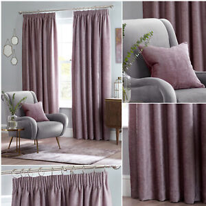Heather LANGLEY Luxury Chenille Blackout Tape Top Pencil Pleat Curtains Pair