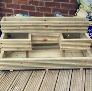 HandMade X-Large Decking planter 3 Tier Ethically sourced Wood - Free Postage