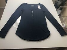 Abercrombie and Fitch Women's Long Sleeve Top Size M Navy Blue