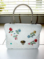 Lovely Vintage Beaded and Crocheted On Basket Weave MIDAS of MIAMI HandBag