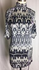 Marciano SILK Black Silver Purple Print with High Neck 3/4 Sleeve XS