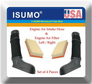 4 Pieces Engine Air Intake Hose & Air Filter Left & Right Fits: C300 C350 E350