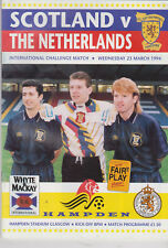 Programme / Programma Scotland v Holland 23-03-1994 friendly