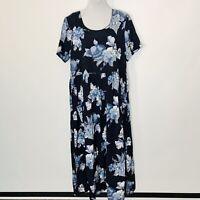 Coldwater Creek Maxi Dress Womens Size L Pockets Blue Floral