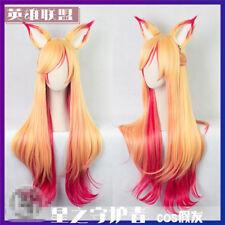 New LOL Star Guardien Magic Girl The Nine-Tailed Fox Ahri Cosplay Wig With Ears