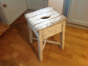 VICTORIAN FARMHOUSE TABLE STOOL WITH TOP STORAGE ORIGINAL  WHITE PAINT
