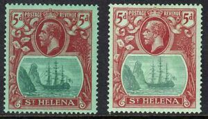 ST HELENA 1922-37 SG103 & 103d 5d GREEN & DEEP CARMINE & CARMINE-RED LMM