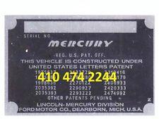 STAMPED MERCURY  DATA PLATE SERIAL NUMBER ID TAG VIN old