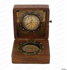 Antique Authentic Clock Compass in Rose Wood Box Christmas Day Gift
