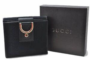 Authentic GUCCI Abbey Bifold Wallet GG Canvas Leather Black 141411 Box E1226