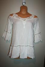 c31e9edbd3c2f NEW Womens SOLITAIRE SWIM White Cold Shoulder Crochet Cover Up Tunic Small  S NWT