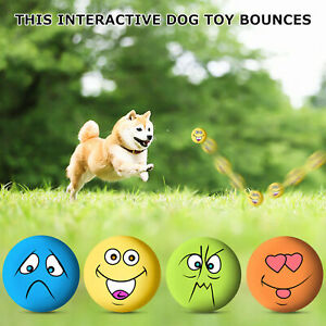 6PCS UNIEX LATEX DOG PUPPY PET PLAY SQUEAKY BALL WITH FACE FETCH TOY BRIGHT