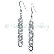 Long Drop Earrings Real Genuine Sterling Silver 925 Chain For Women Hook Dangle