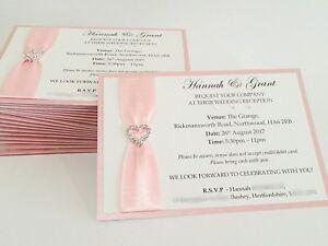 Luxury postcard Wedding Invitation - ribbon and heart diamanté day or evening