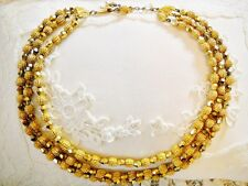 Necklace W/ Hallmark Charm 3-Strand Gold Tone Beaded Bib