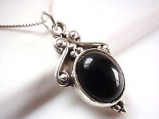 Black Onyx Accented Necklace 925 Sterling Silver Ethnic Tribal Style New