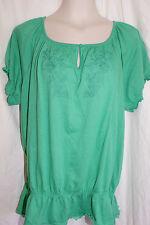 18/20 Womens LANE BRYANT Green Knit Top Shirt Blouse w elastic at waist NWT!