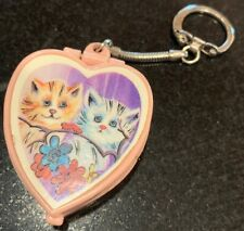 Vintage Plastic Heart Music Box Keychain Japan Sankyo Theme from Love Story Cats