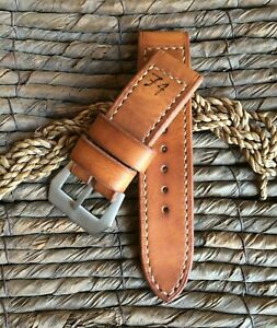 Handmade vintage 74 tan leather strap for Panerai with GPF buckle 27,26, 24,22mm