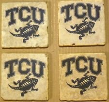 Coasters Set TCU Holders Texas Christian University Drinks Stone Handmade Gifts