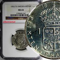 Sweden Gustaf VI Silver 1952 TS Krona NGC MS65 BETTER DATE KM# 826