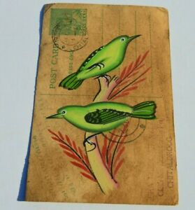 A LOVELY OLD RAJASTHAN MINIATURE PAINTED INDIAN POSTCARD OF A BIRDS NO  150