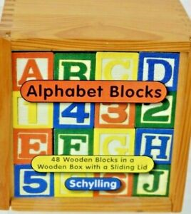 "48) 1 1/4""  Small Wooden Schylling Alphabet Blocks In A Wooden Box with Sliding"