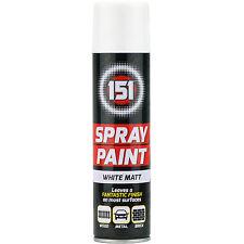 1 x 250ml 151 White Matt Aerosol Paint Spray Cars Wood Metal Walls Graffiti