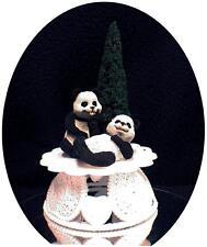 Adorable Panda Bear Wedding Cake Topper Bride & Groom Top outdoor funny
