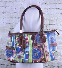 Relic Satchel Handbag Boho Floral Summer Faux Leather Braided Handle Purse