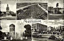 MANNHEIM um 1960 Mehrbildkarte mit Paradeplatz, Schloss , Autos, Strassenzügen