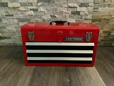 Craftsman Portable Tool Box 20.5-in Ball-bearing 3-Drawer Red Steel and Lockable