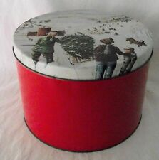 Christmas Tin Metal Can Container Red Children Tree Barn Round Tall Decor Vtg