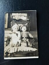 c 1918 Military Soldier & Sailor Dolls Real Photo Postcard RPPC Trimmed
