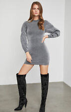 BCBG MAXAZRIA Metallic Bubble Sleeve Dress XXS Silver Mini Bodycon $358
