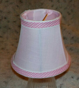 """Small pink fabric clip-on chandelier ceiing light shade, 4"""" high, Hobby Lobby"""