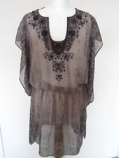 NEXT SIGNATURE ladies dress size 8 grey black beads embroidery holiday beach