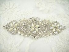 Gorgeous Pearl Crystal Bridal Applique Diamante Motif Beaded Wedding Applique