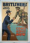 1918 Britisher's You're Needed Come Across Now Lloyd Myers WWI Poster Original