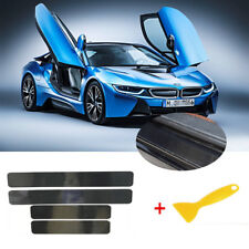 4Pcs Black 5D Carbon Fiber Scuff Plate Door Sill Cover Protector Fit Pickup SUV