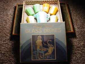 """Antique Vintage Style 1/""""  Akro Agates Marble set w Box"""