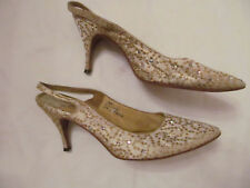 40's ANDREW GELLER satin gold embroidered rhinestone glam Gatsby shoes 8 N  *